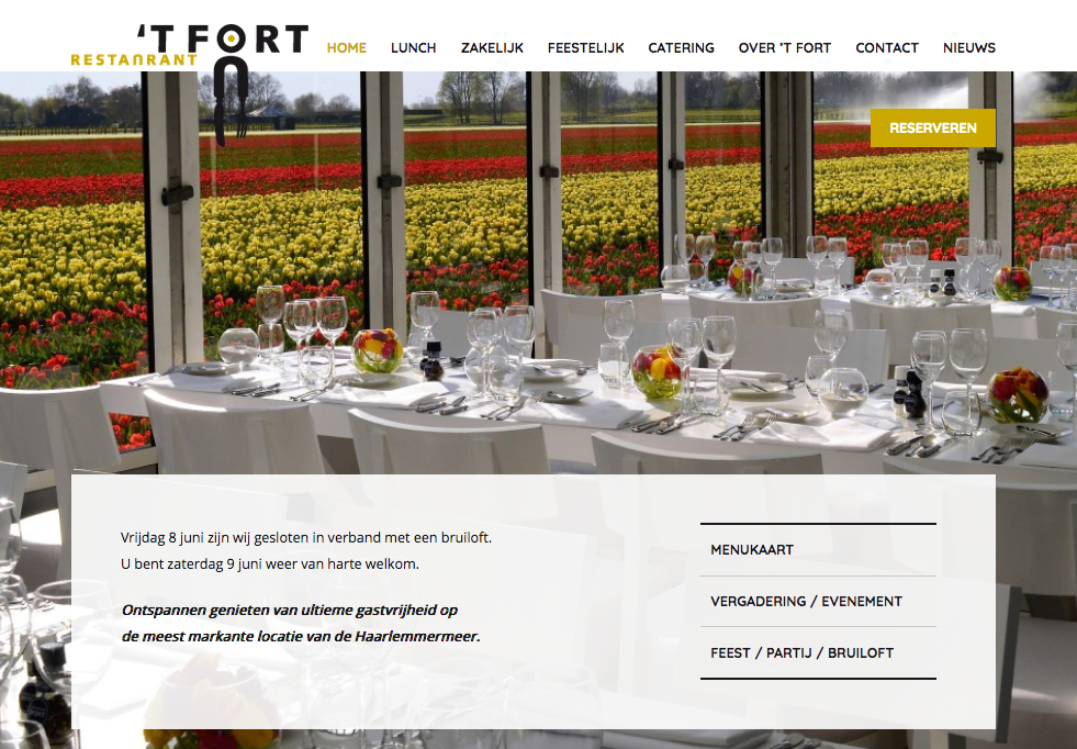 Restaurant 't Fort – socials & web